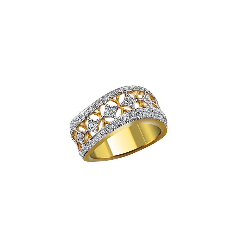 14K Yellow and White Gold Diamond Ring - Nazar's & Co.