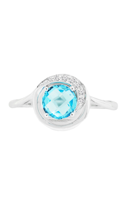 14K White Gold Blue Topaz and Diamond Ring - Nazar's & Co.
