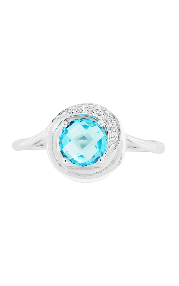 14K White Gold Blue Topaz and Diamond Ring, Rings, Nazar's & Co. - Nazar's & Co.