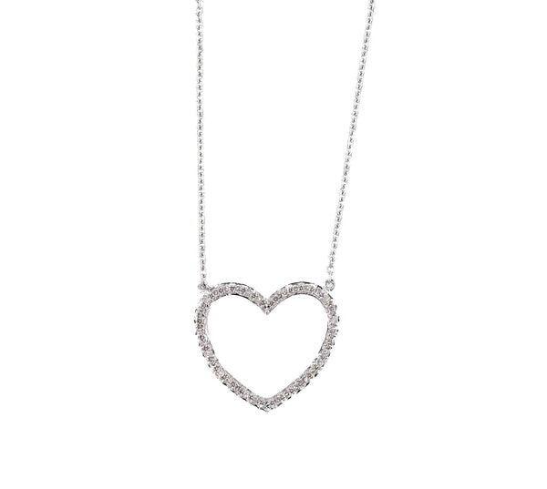 14K White Gold Diamond Heart Necklace, Necklaces, Nazar's & Co. - Nazar's & Co.