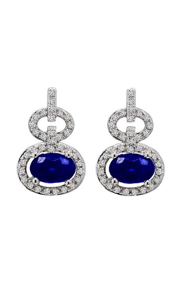 14K White Gold Blue Sapphire and Diamond Chandelier Earrings, Earrings, Nazar's & Co. - Nazar's & Co.