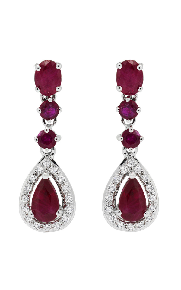 Ruby and Diamond Earrings, Earrings, Nazar's & Co. - Nazar's & Co.