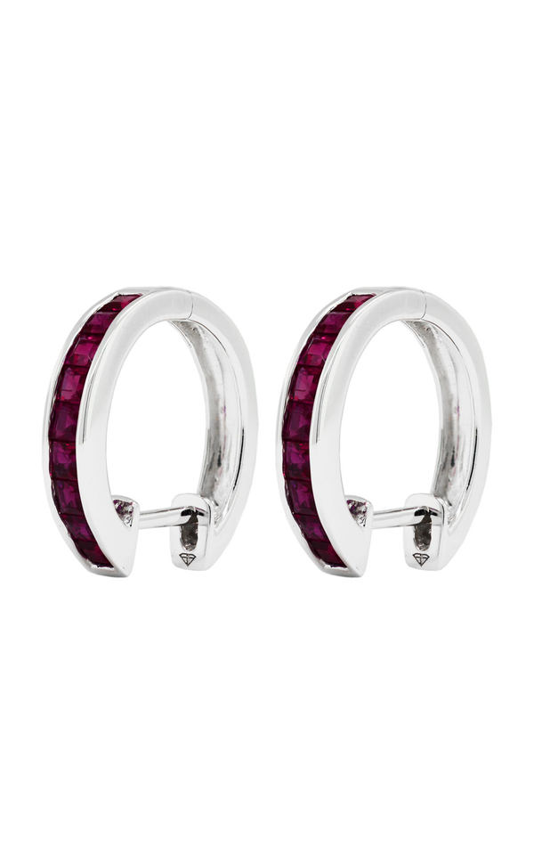 14K White Gold Ruby Hoop Earrings - Nazar's & Co.