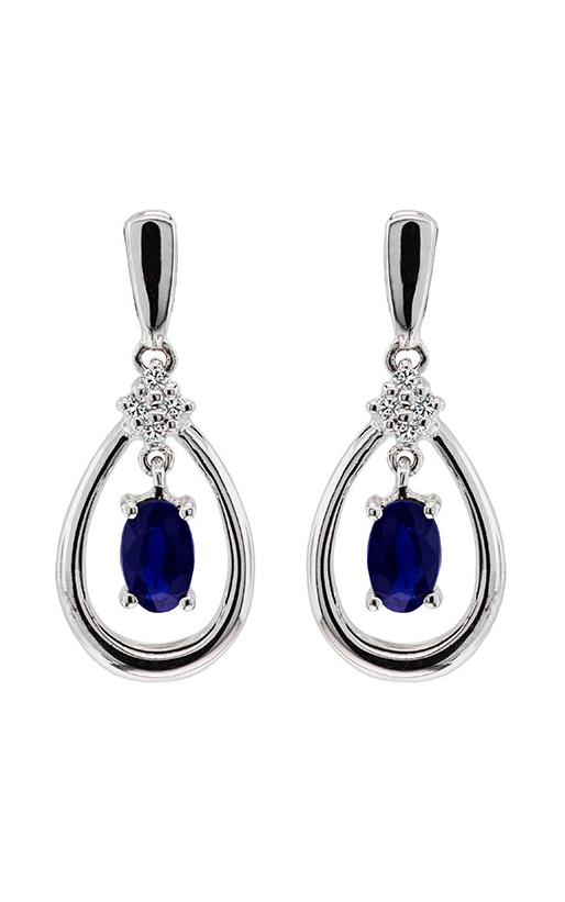 14K White Gold Blue Sapphire and Diamond Earrings - Nazar's & Co.
