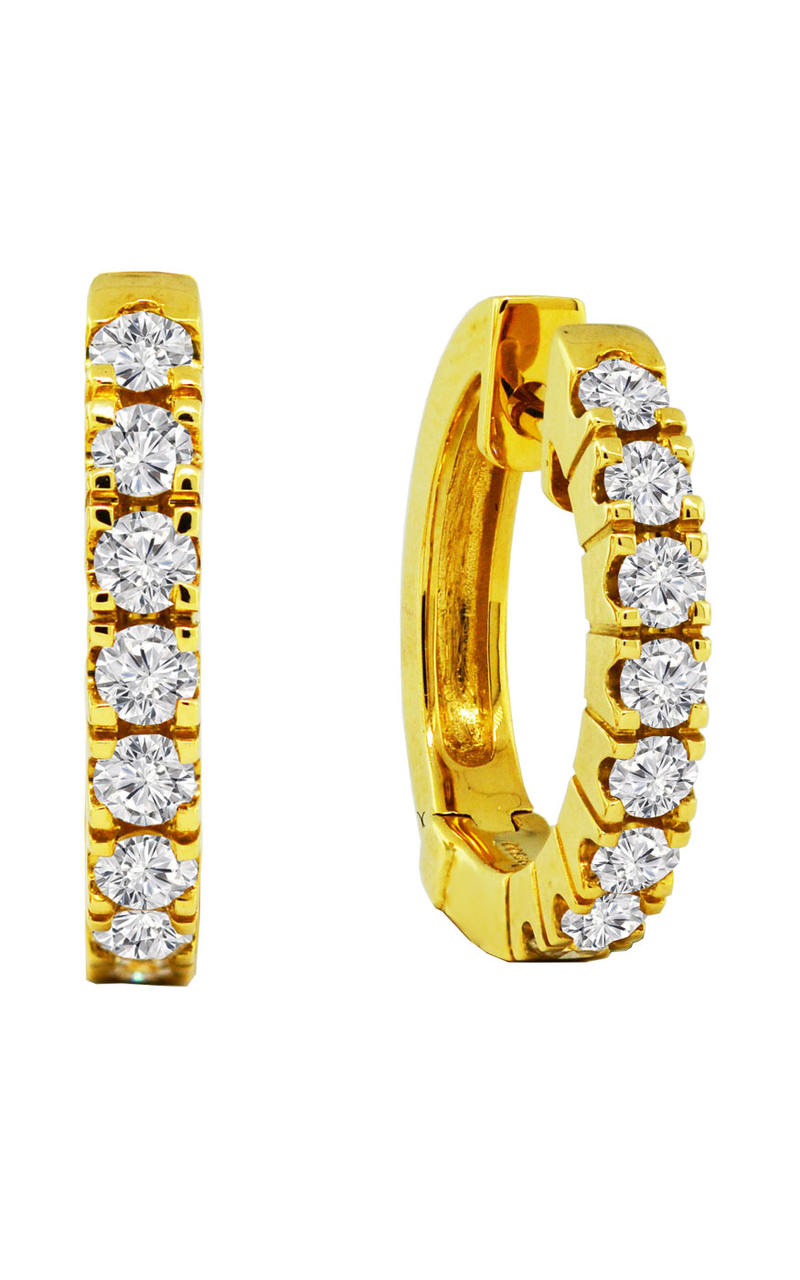 18K Yellow Gold and Diamond Hoop Earrings, Earrings, Nazar's & Co. - Nazar's & Co.