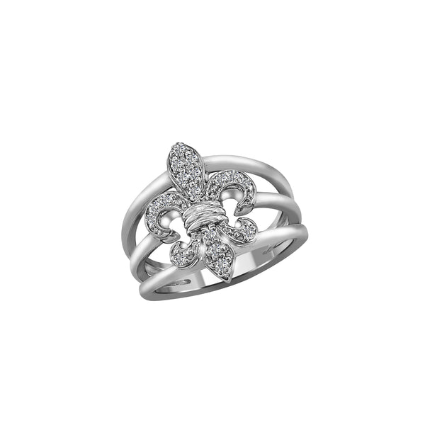 14K White Gold and Diamond Fleur de Lis Ring, Rings, Nazar's & Co. - Nazar's & Co.