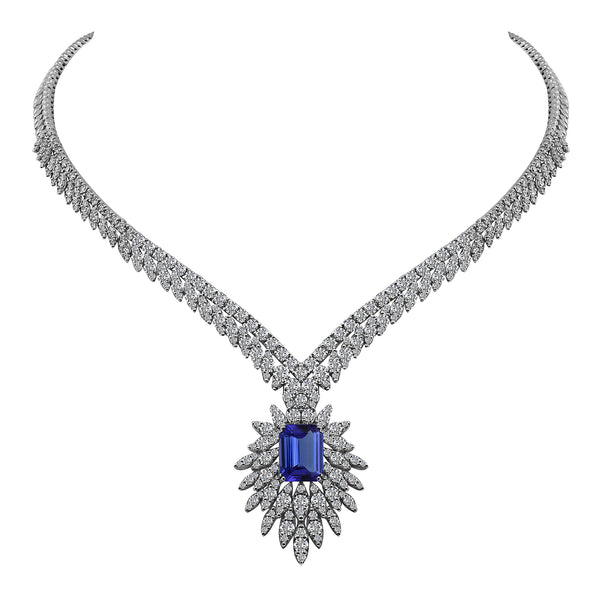 14K White Gold 7.14 Carat Emerald Cut Tanzanite and Diamond Necklace - Nazar's & Co.