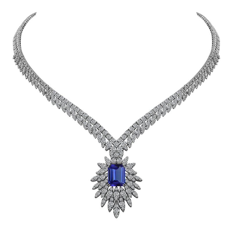 14K White Gold 7.14 Carat Emerald Cut Tanzanite and Diamond Necklace, Necklaces, Nazar's & Co. - Nazar's & Co.