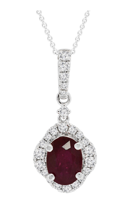 18K White Gold Oval Ruby and Diamond Pendant, Necklaces, Nazar's & Co. - Nazar's & Co.