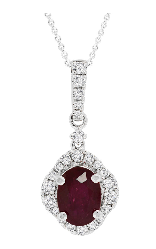 18K White Gold Oval Ruby and Diamond Pendant - Nazar's & Co.