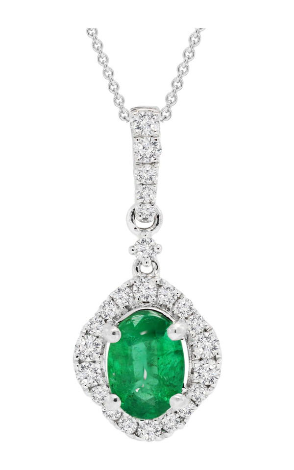 18K White Gold Oval Emerald and Diamond Pendant - Nazar's & Co.
