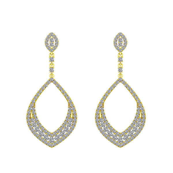 18K Yellow Gold Diamond Earrings, Earrings, Nazar's & Co. - Nazar's & Co.