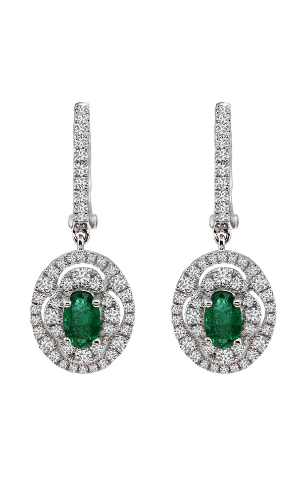 18K White Gold Emerald and Diamond Earrings - Nazar's & Co.