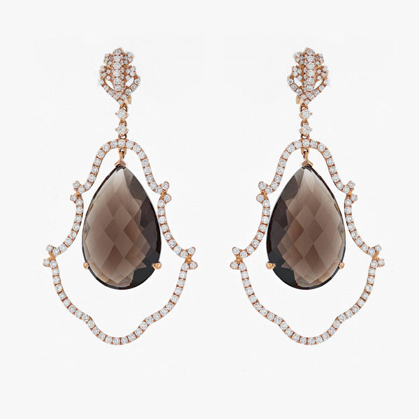 Nazar Couture Smoky Quartz and Diamond Earrings, Earrings, Nazar's & Co. - Nazar's & Co.