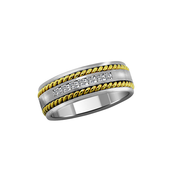 Men's 14K White and Yellow Gold and Diamond Eternity Band