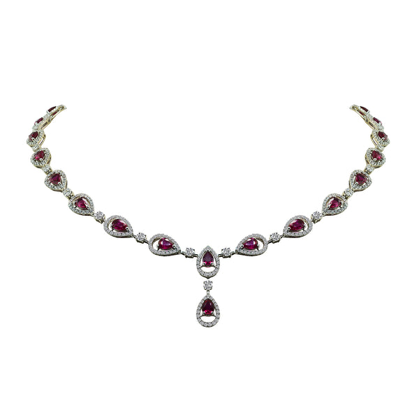 18K White Gold Ruby and Diamond Necklace - Nazar's & Co.
