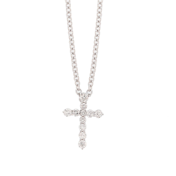 18K White Gold Diamond Cross Pendant Necklace, Necklaces, Nazar's & Co. - Nazar's & Co.