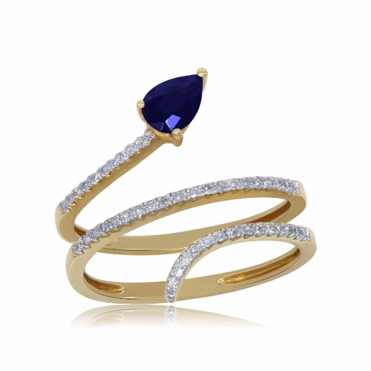 14K Yellow Gold Blue Sapphire and Diamond Ring, Rings, Nazar's & Co. - Nazar's & Co.