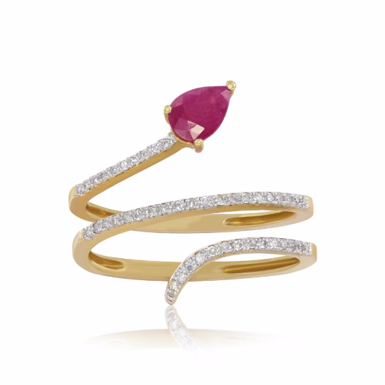 14K Yellow Gold Ruby and Diamond Ring, Rings, Nazar's & Co. - Nazar's & Co.