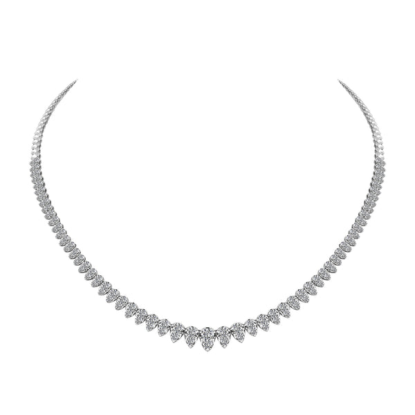 14K White Gold Diamond Tennis Necklace - Nazar's & Co.