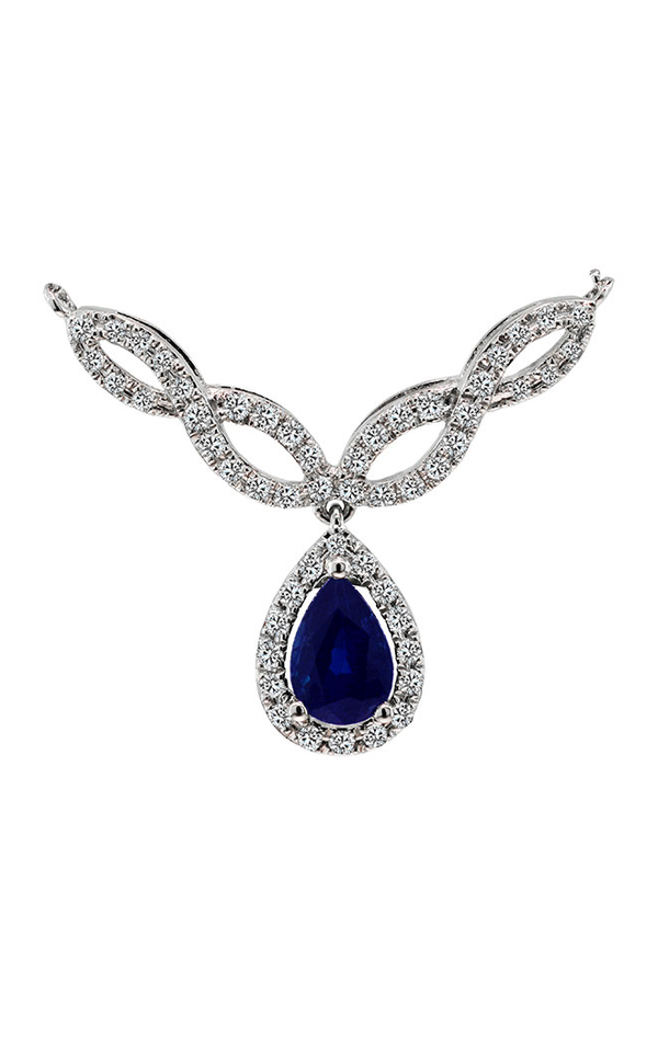 14K White Gold Blue Sapphire and Diamond Necklace - Nazar's & Co.