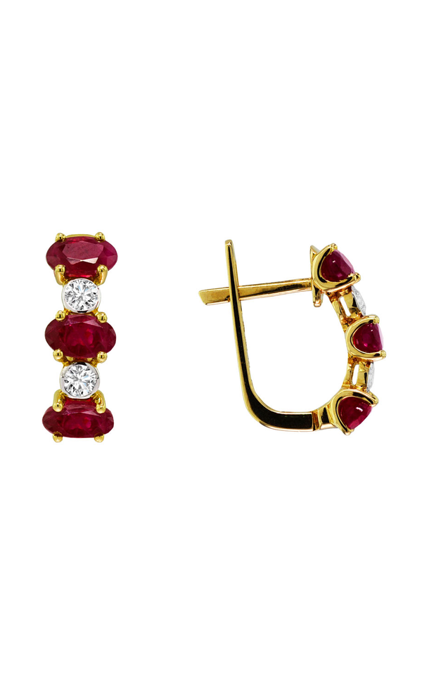 14K Yellow Gold Ruby and Diamond Hoop Earrings - Nazar's & Co.