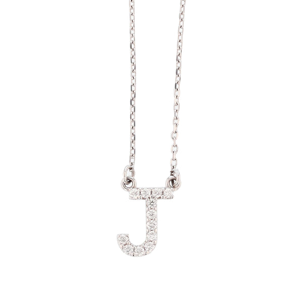 14K White Gold Diamond Initial Pendant Necklace - Nazar's & Co.