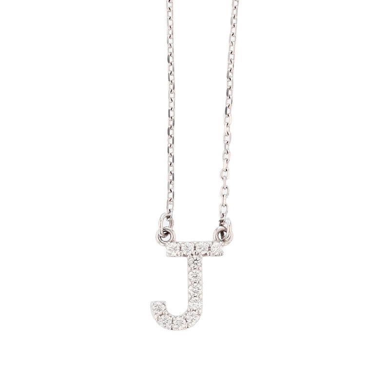 14K White Gold Diamond Initial Pendant Necklace, Necklaces, Nazar's & Co. - Nazar's & Co.