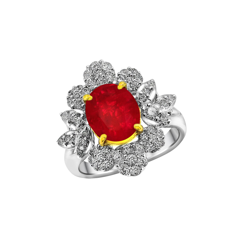 18K White and Yellow Gold Ruby and Diamond Ring, Rings, Nazar's & Co. - Nazar's & Co.