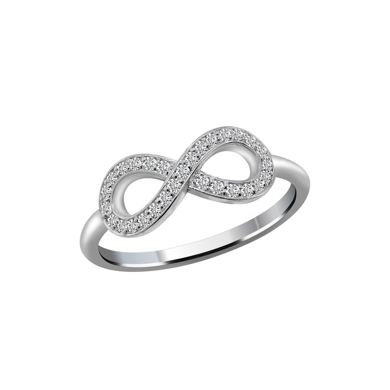 14K White Gold Diamond Infinity Sign Ring, Rings, Nazar's & Co. - Nazar's & Co.