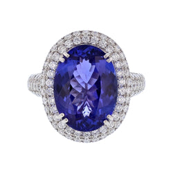 18K White Gold 7.62 Carat Oval Tanzanite and Diamond Ring, Rings, Nazar's & Co. - Nazar's & Co.