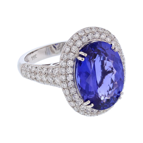18K White Gold 7.62 Carat Oval Tanzanite and Diamond Ring - Nazar's & Co.