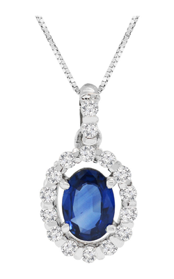14K White Gold Oval Blue Sapphire and Diamond Pendant - Nazar's & Co.