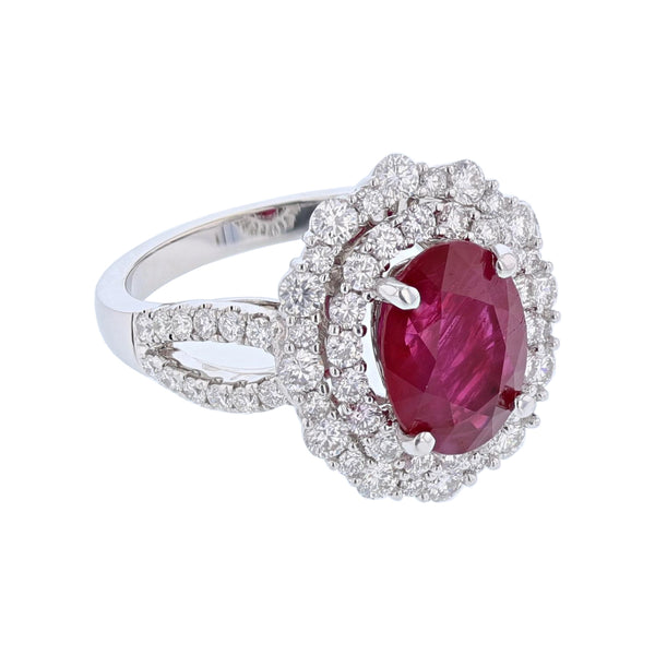 18K White Gold Oval 3.06 Carat Burmese Ruby and 1.18 Carat Diamond Ring - Nazar's & Co.