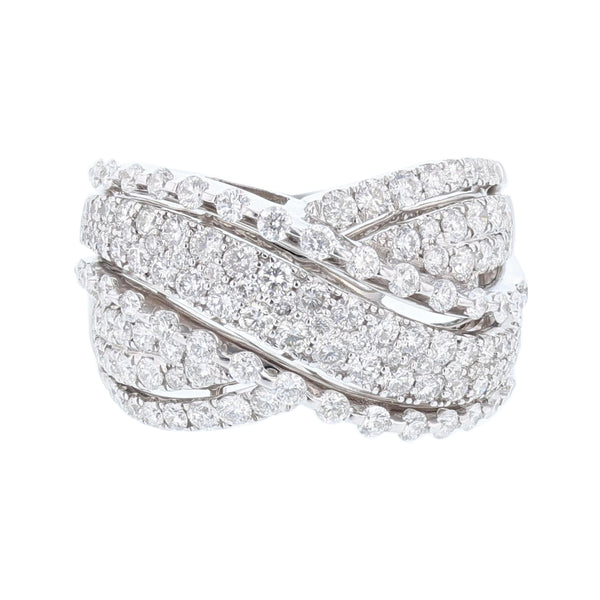 White Gold Criss Cross Diamond Ring - Nazar's & Co.