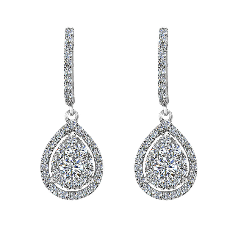 18K White Gold Diamond Earrings, Earrings, Nazar's & Co. - Nazar's & Co.