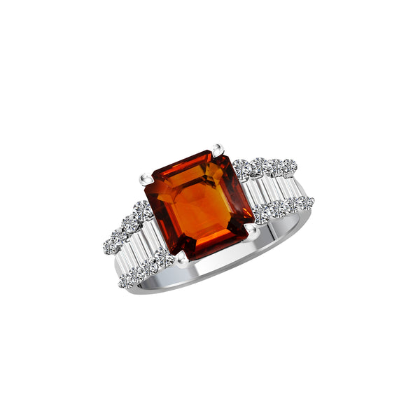 18K White Gold Brown-Orange Sapphire and Diamond Ring, Rings, Nazar's & Co. - Nazar's & Co.