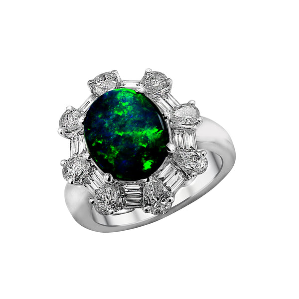 18K White Gold Black Opal and Diamond Ring, Rings, Nazar's & Co. - Nazar's & Co.