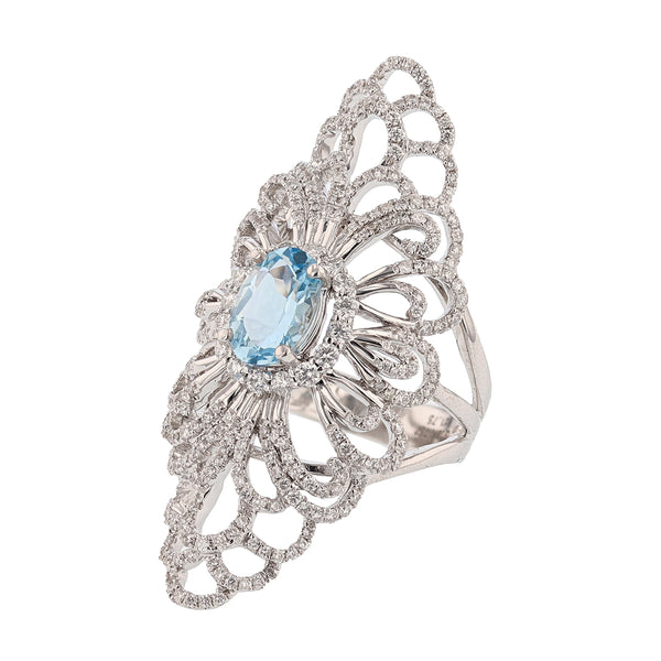 18K White Gold Aquamarine and Diamond Ring - Nazar's & Co.