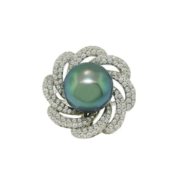 18K White Gold Blue-Grey South Sea Pearl and Diamond Ring, Rings, Nazar's & Co. - Nazar's & Co.