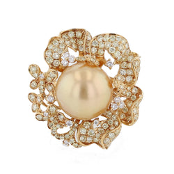 18K Yellow Gold Golden South Sea Pearl, Yellow Diamond and Diamond Ring, Rings, Nazar's & Co. - Nazar's & Co.