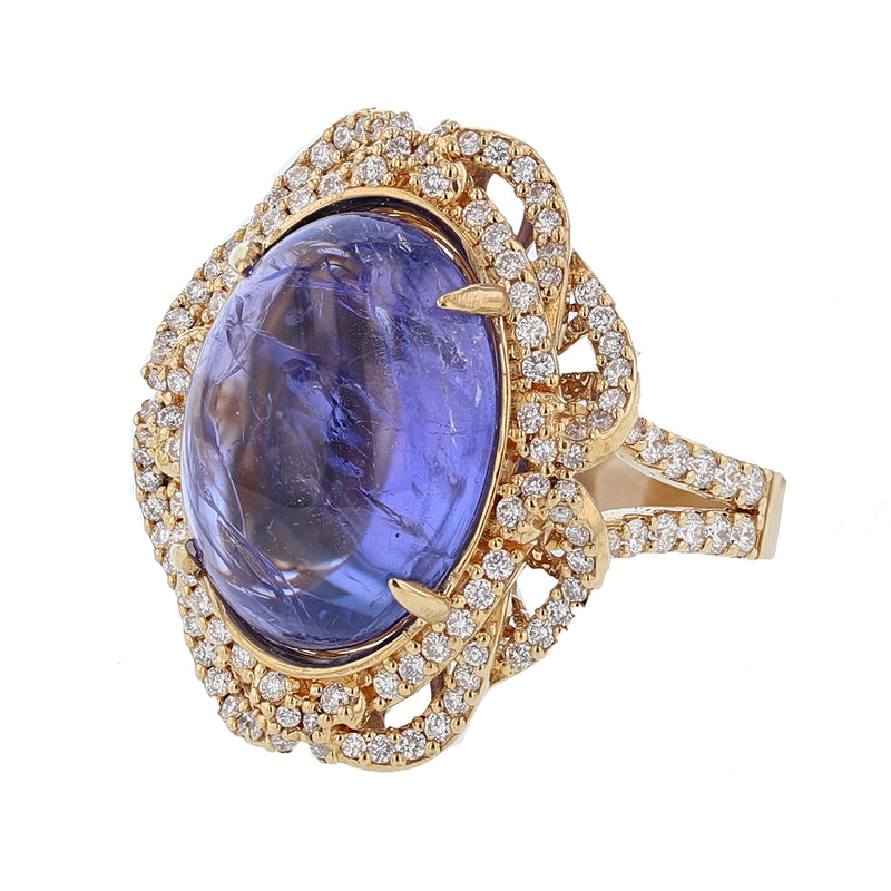 18K Yellow Gold Tanzanite and Diamond Ring, Rings, Nazar's & Co. - Nazar's & Co.