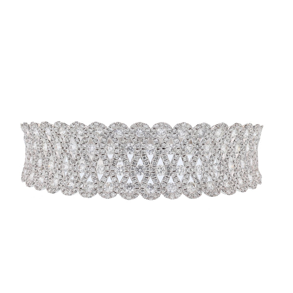 18K White Gold Diamond Bangle - Nazar's & Co.