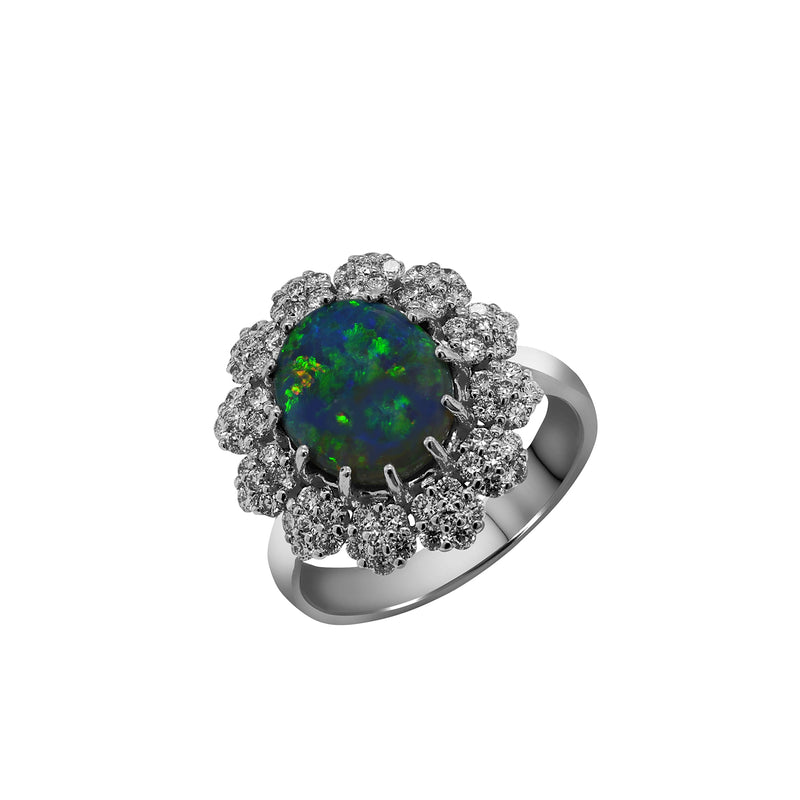 18K White Gold Australian Black Opal and Diamond Ring, Rings, Nazar's & Co. - Nazar's & Co.