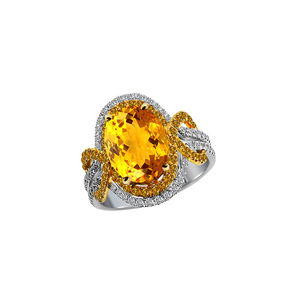 18K White and Yellow Gold Yellow Sapphire Yellow Diamond and Diamond Ring, Rings, Nazar's & Co. - Nazar's & Co.
