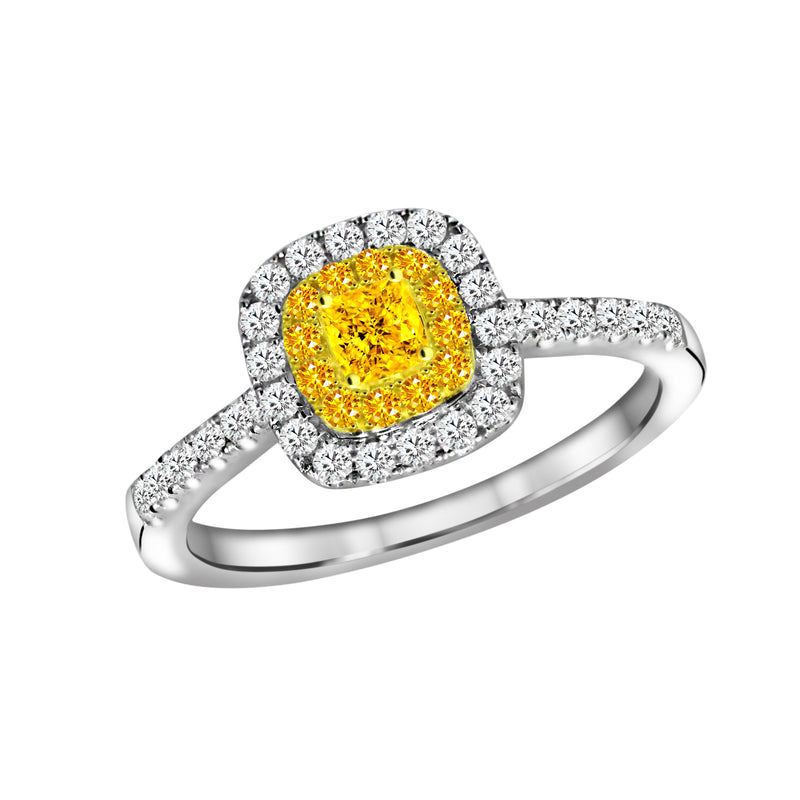 18K White and Yellow Gold Yellow and White Diamond Engagement Ring - Nazar's & Co.