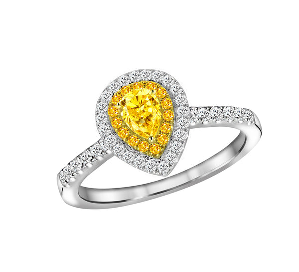 18K White and Yellow Gold Yellow Diamond Engagement Ring - Nazar's & Co.