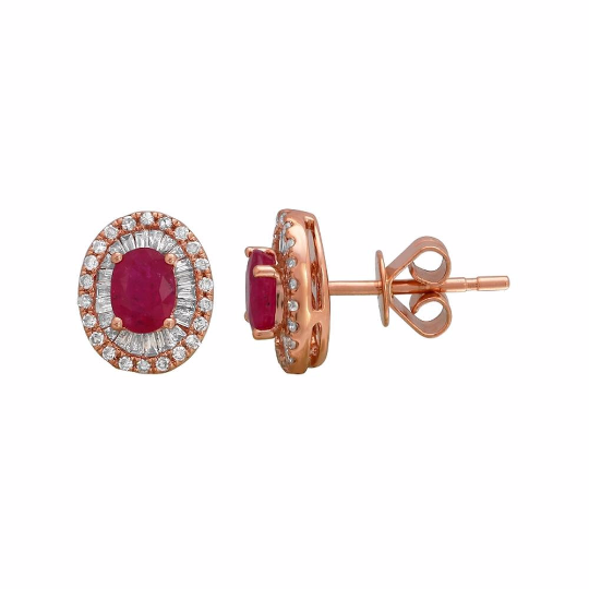 Rose Gold Ruby and Diamond Studs - Nazar's & Co.