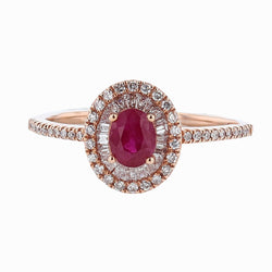 14K Rose Gold Ruby and Diamond Double Halo Ring, Rings, Nazar's & Co. - Nazar's & Co.