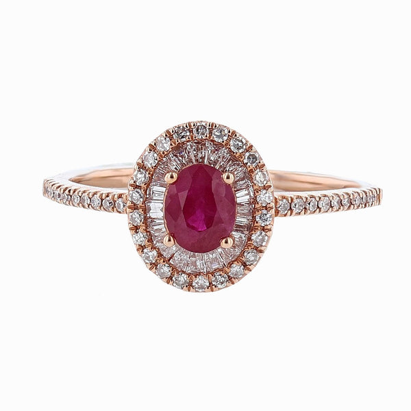 14K Rose Gold Ruby and Diamond Ring, Rings, Nazar's & Co. - Nazar's & Co.